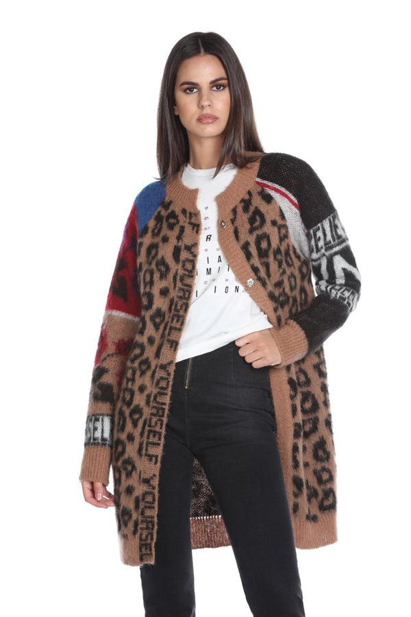 Cardigan YOURSELF manica lunga jacquard animalier multicolor