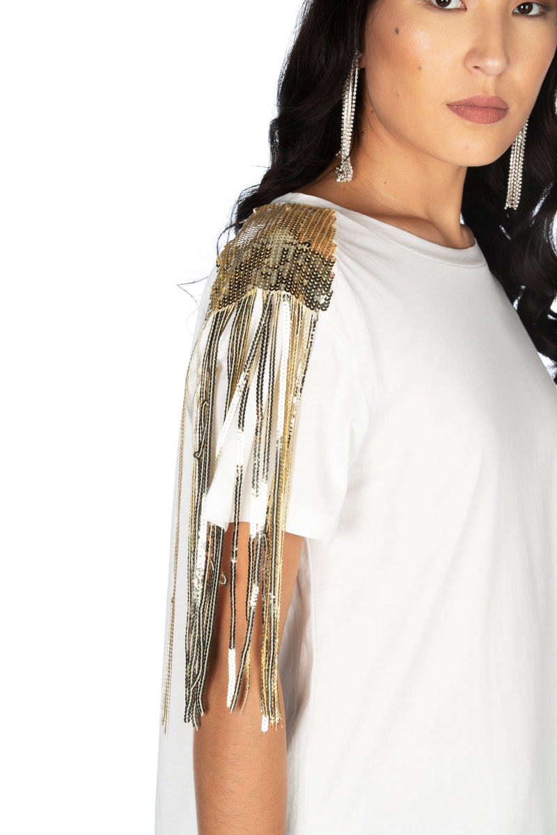 T-shirt mezza manica con paillettes su spalla, Relish High Fashion moda, Primavera Estate 2020, abbigliamento donna