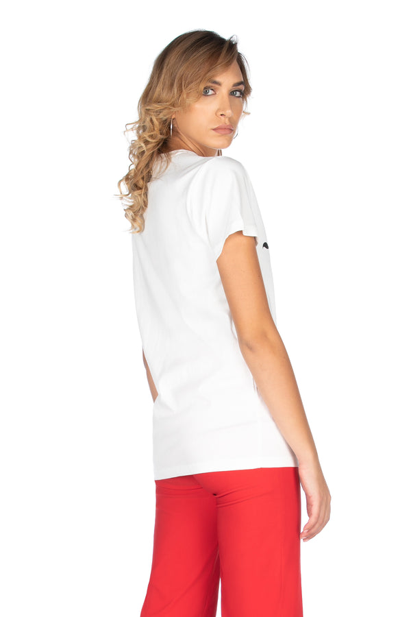 T-shirt mezza manica con stampa più patch farfalla paillettes, Relish High Fashion moda, Primavera Estate 2020, abbigliamento donna