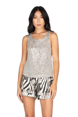 Top girocollo con paillettes, Relish High Fashion moda, Primavera Estate 2020, abbigliamento donna