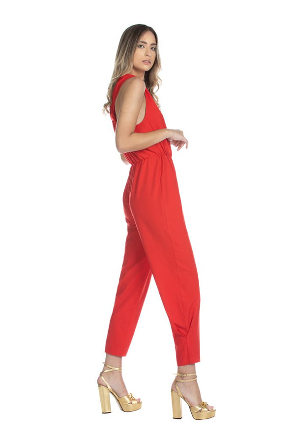 HUGGINGS long sleeveless double with v-neck jumpsuit with gathered waist