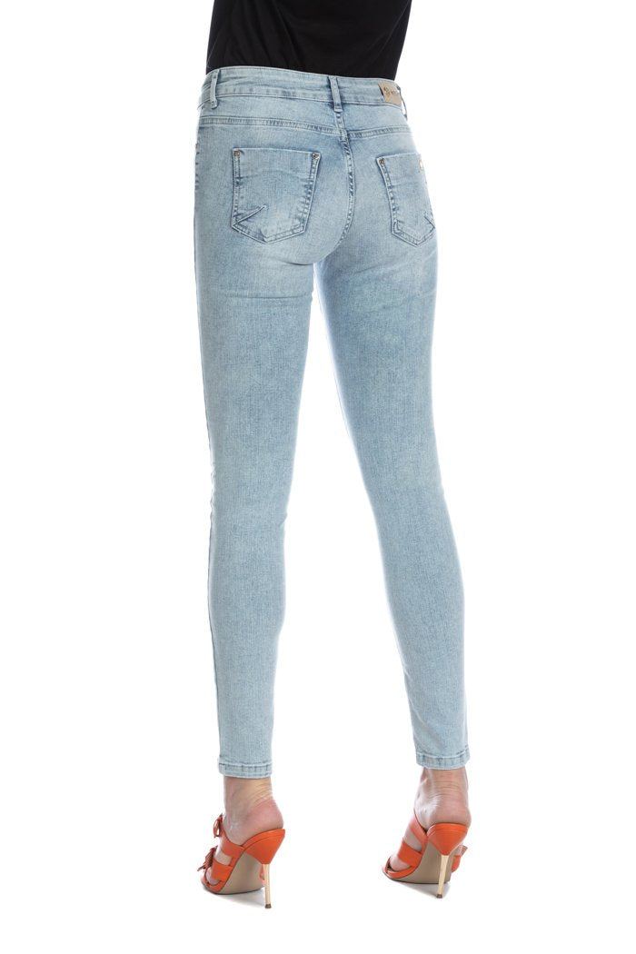 Jeans Jeggings DAISY/A slim fit un bottone due tasche con rotture denim