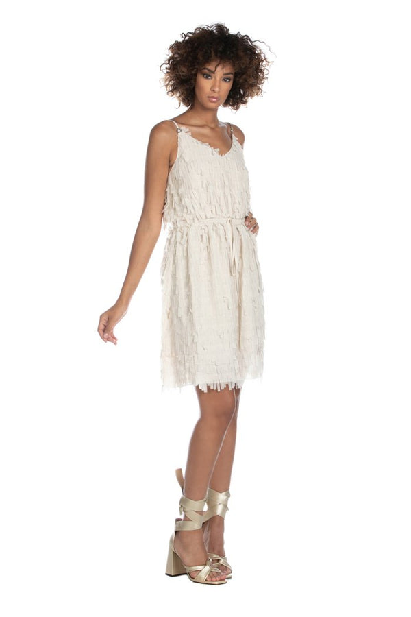 VALENCIA short sleeveless dress with rhinestone straps plus georgette fringes