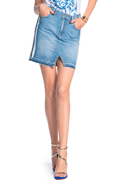 Gonna mini in denim con filo strass su fianchi, relish fashion moda, abbigliamento femminile