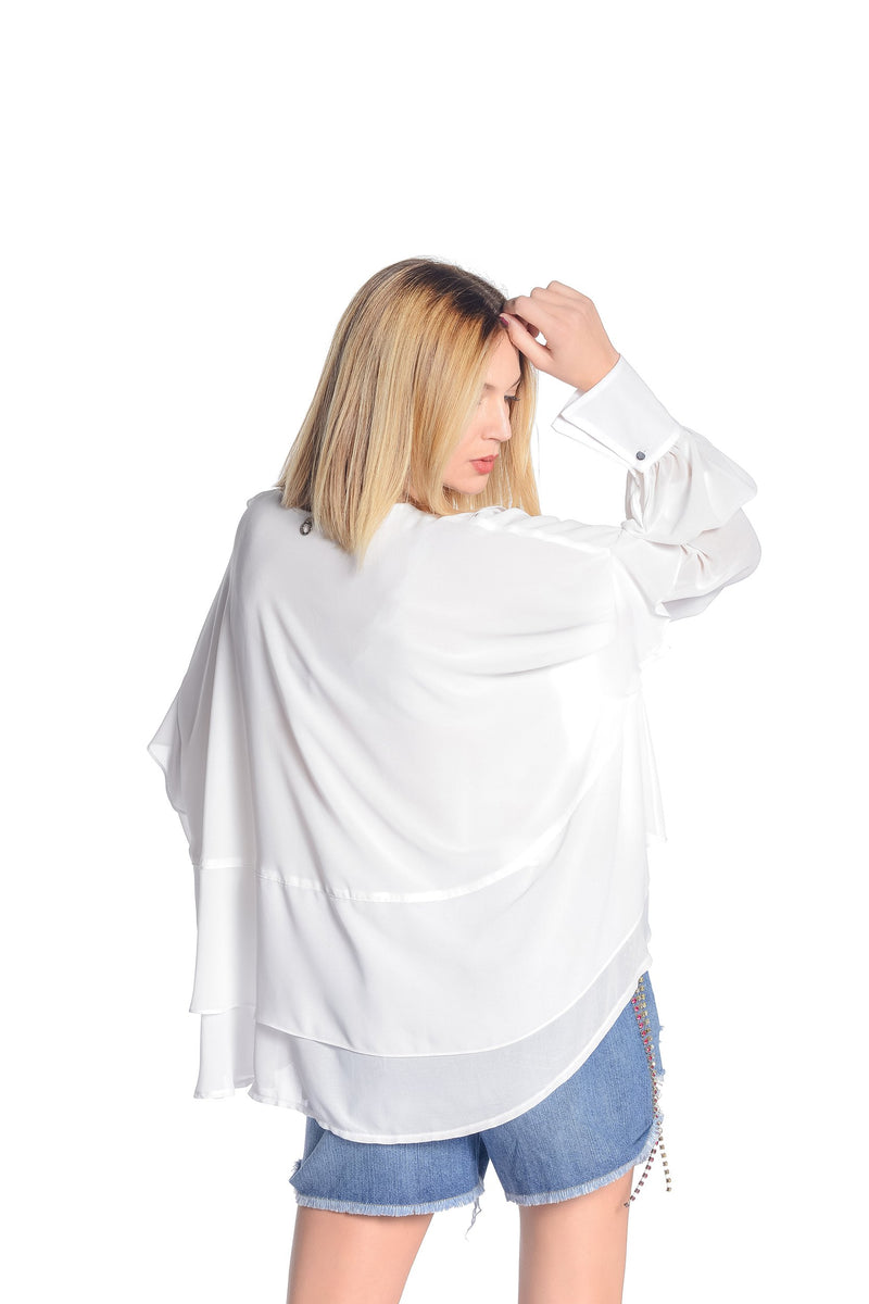 Camicia over in georgette con gale, relish fashion moda, abbigliamento femminile
