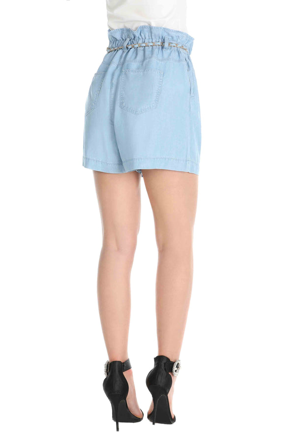 Shorts peper bag con cintura catena e spilla in chambray, relish fashion moda, abbigliamento femminile