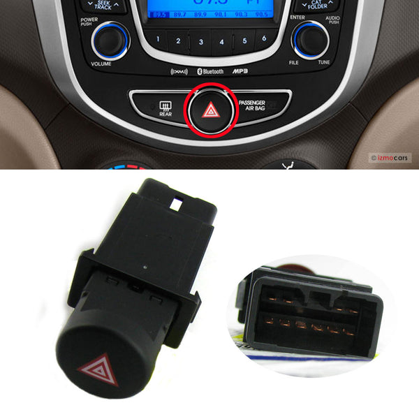 Hazard Warning Lamp Switch Black For Hyundai 2011-2017 Accent Verna Solaris OEM Part 937904L0004X