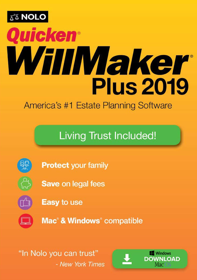 Quicken WillMaker Plus 2019 Retail Win and MacOS