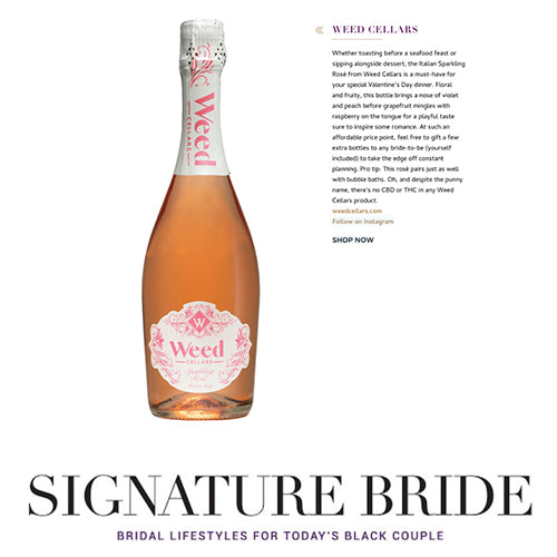 Signature Bride 2021 Valentine's Day Gift Guide features Weed Cellars Italian Sparkling Rosé