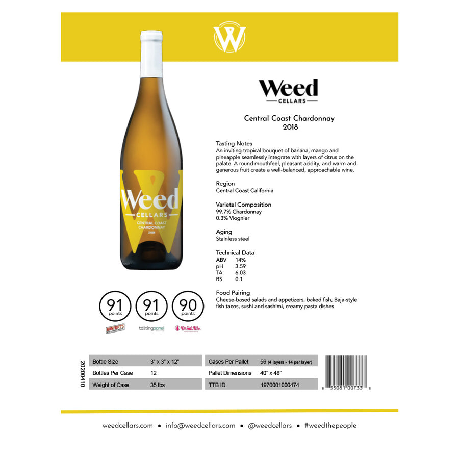 Sell Sheet - Central Coast Chardonnay (PDF Download) - Weed Cellars, Inc.