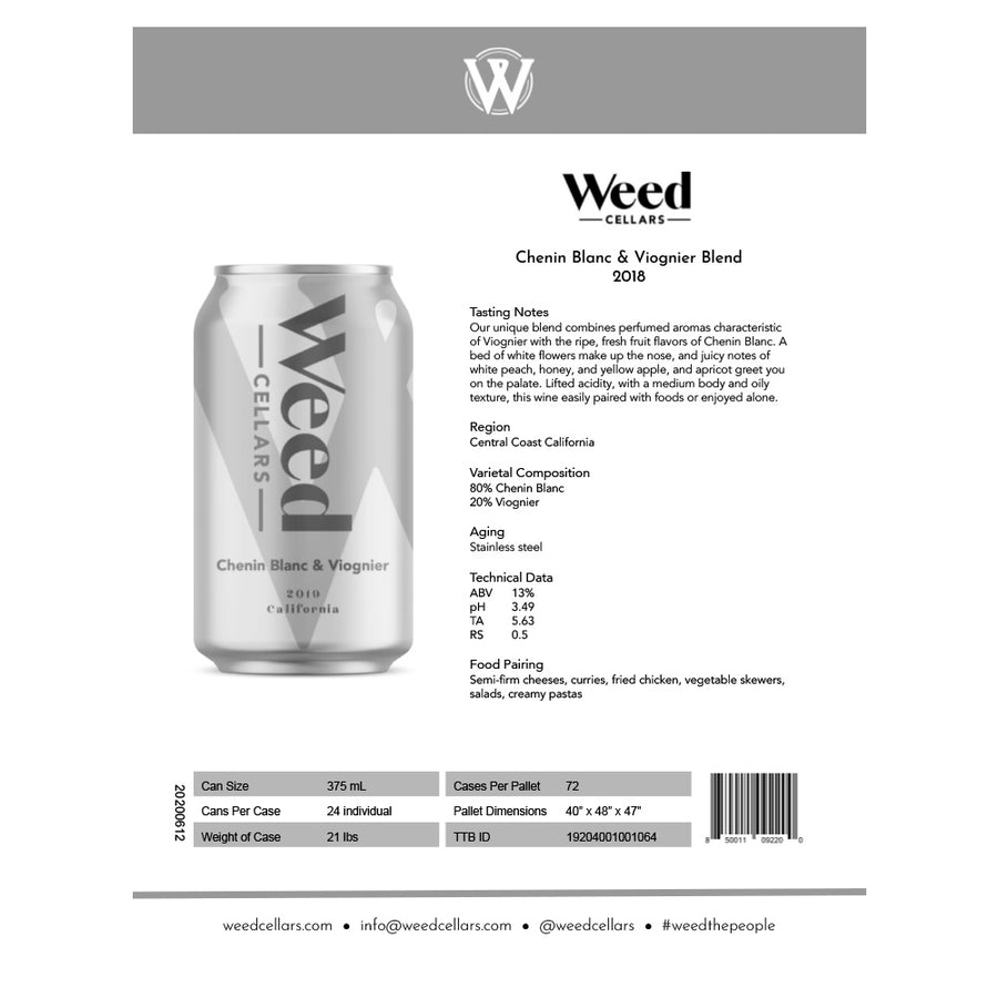 Sell Sheet - Chenin Blanc & Viognier Blend Can (PDF Download) - Weed Cellars, Inc.