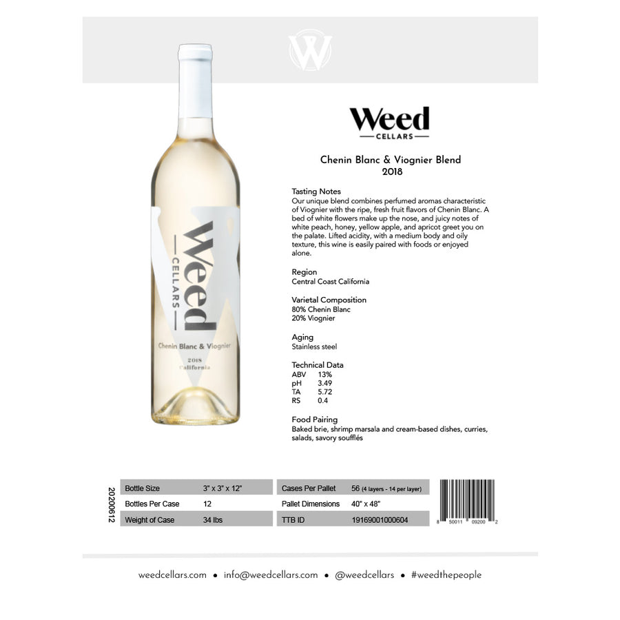 Sell Sheet - Chenin Blanc & Viognier Blend (PDF Download) - Weed Cellars, Inc.