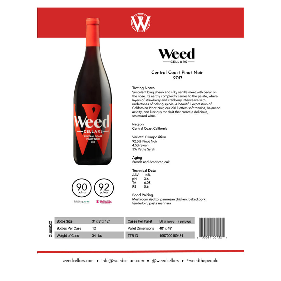 Sell Sheet - Central Coast Pinot Noir (PDF Download) - Weed Cellars, Inc.