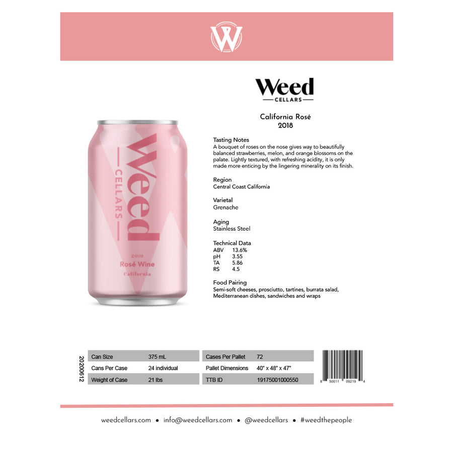 Sell Sheet - California Rosé Can (PDF Download) - Weed Cellars, Inc.
