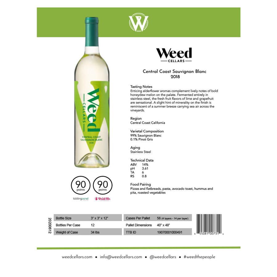 Sell Sheet - Central Coast Sauvignon Blanc (PDF Download) - Weed Cellars, Inc.