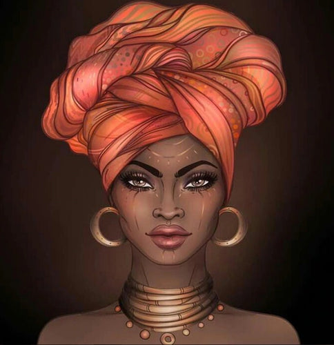 African Woman with Head wrap Diamond Painting