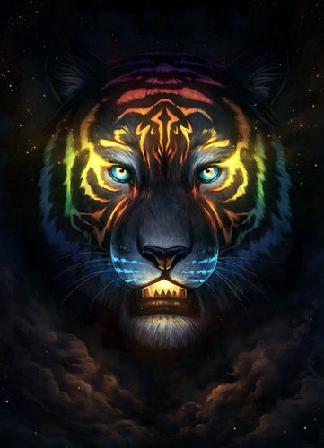 Amazing Tiger Face in Galaxy Diamond Painting