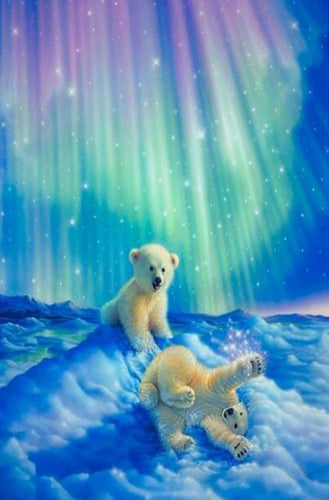 Baby Bears & Aurora Lights Diamond Painting