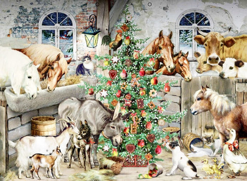 Animals Playing with christmas tree
