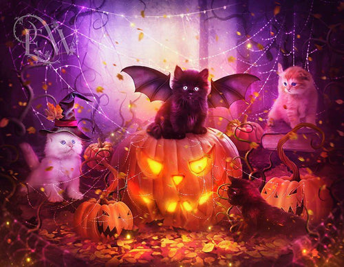 Bat Cat & Glowing Pumpkin Diamond Painting
