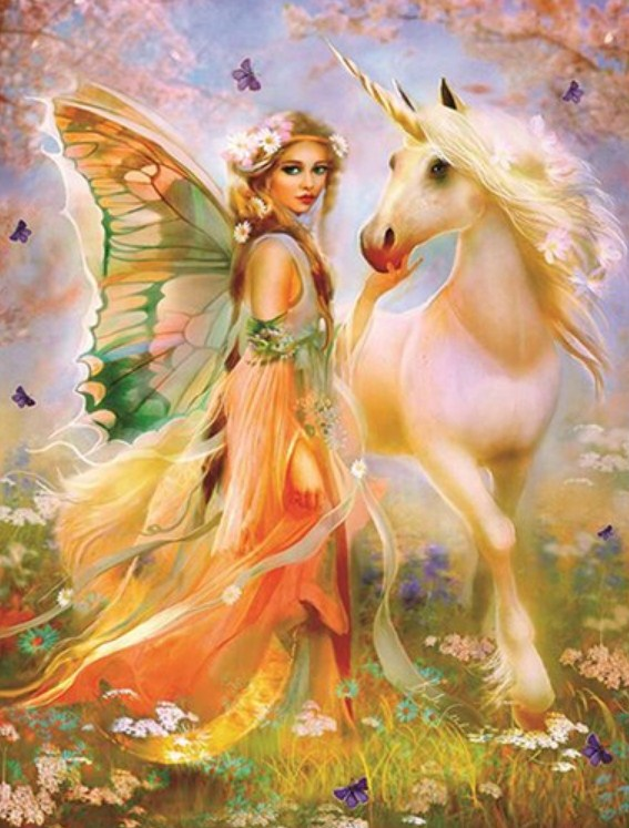 Fairy with Unicorn Diamond Painting