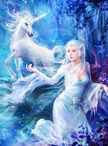 Beautiful Girl & Unicorn Fantasy Diamond Painting