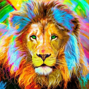 Big Lion with Colorful Hair Diamond Painting