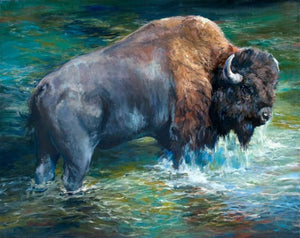 Bison in Water Diamond Painting Kit