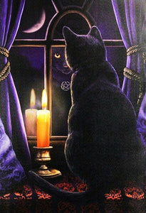 Black Cat & Candle in the Window Diamond Painting