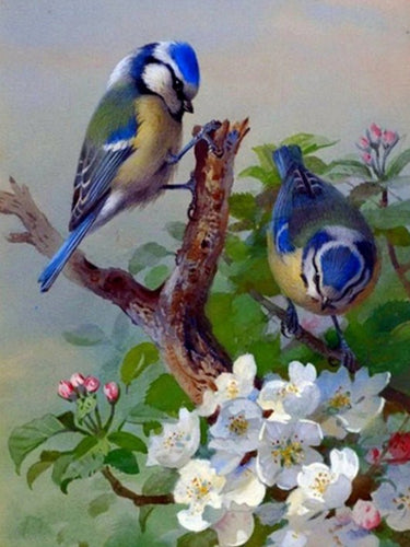 Blue Sparrows & White Flowers Diamond Painting