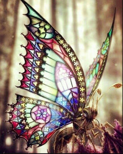 Butterfly with Stained Glass Wings Diamond Painting