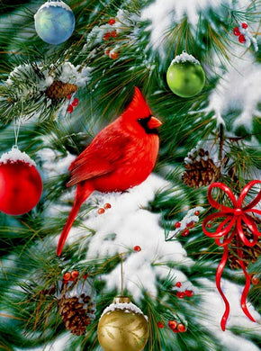 Cardinal Sitting on Christmas Tree Diamond Painting
