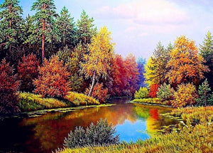 Colorful Trees by the Lake Paint by Diamonds