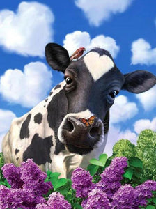 Cow & Lavenders Diamond Painting