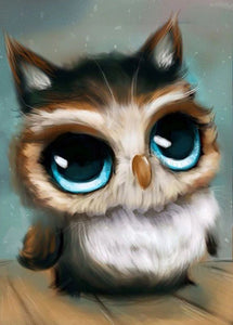 Cute Owl with Blue Eyes Diamond Painting