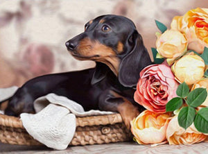 Dachshund & Flowers Paint with Diamonds