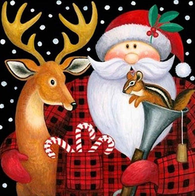 Deer & Santa Claus Christmas Card Diamond Painting