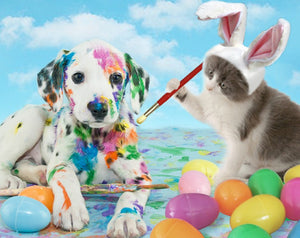 Dog & Cat Celebrating Easter Diamond Painting