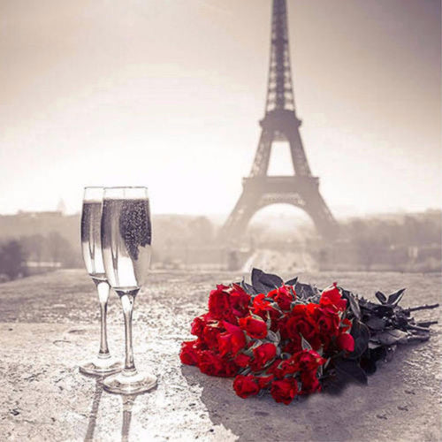Eiffel Tower & Rose Bouquet Diamond Painting
