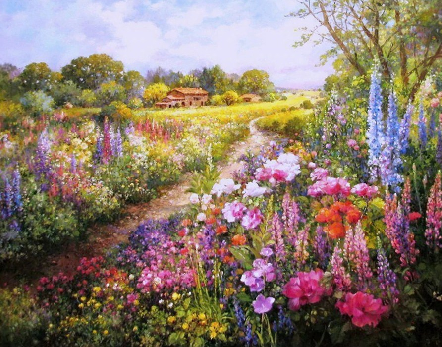 Field of Colorful Flowers Diamond Painting