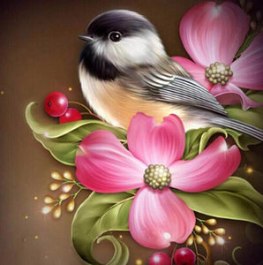 Flowers & Sparrow Diamond Painting