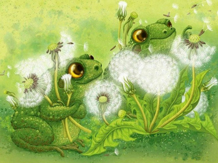 Frogs & Dandelions Paint by Diamonds