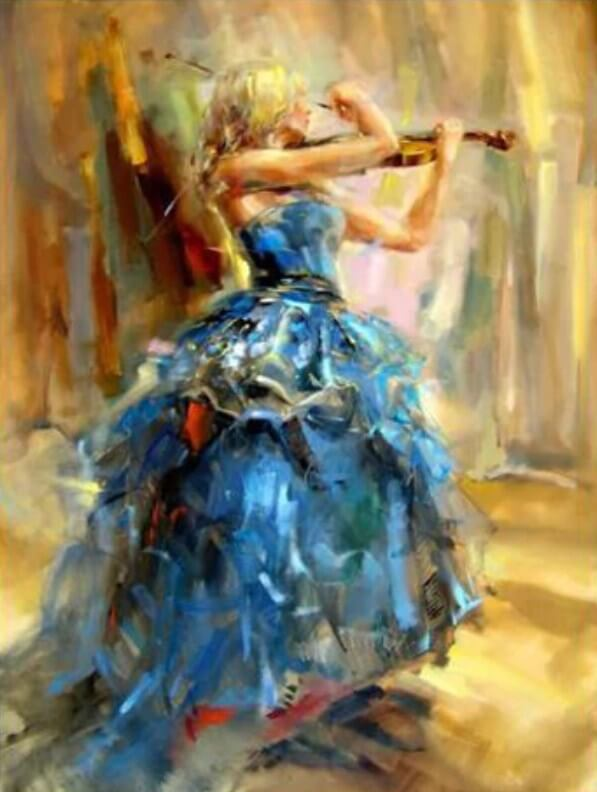 Girl Playing Violin DIY Painting