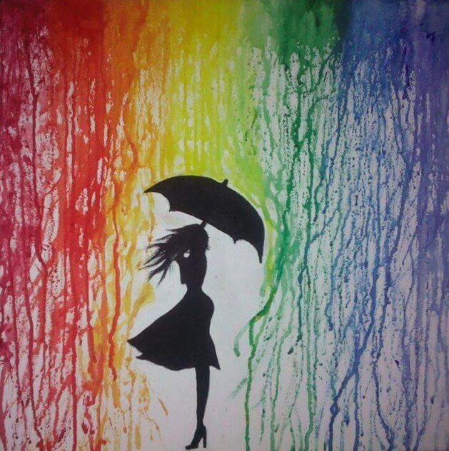 Girl in Rain Paint by Diamonds
