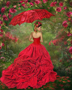 Gorgeous Girl in Rose Gown Diamond Painting