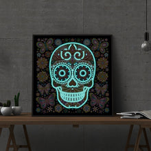 Load image into Gallery viewer, Happy Skull Night Glowing Diamond Artwork