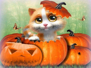 Happy Cat on Halloween Diamond Painting Kit