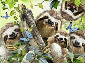 Happy Sloth Family Paint by Diamonds