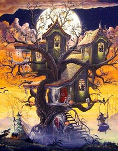 Haunted Tree House & Witches Diamond Painting
