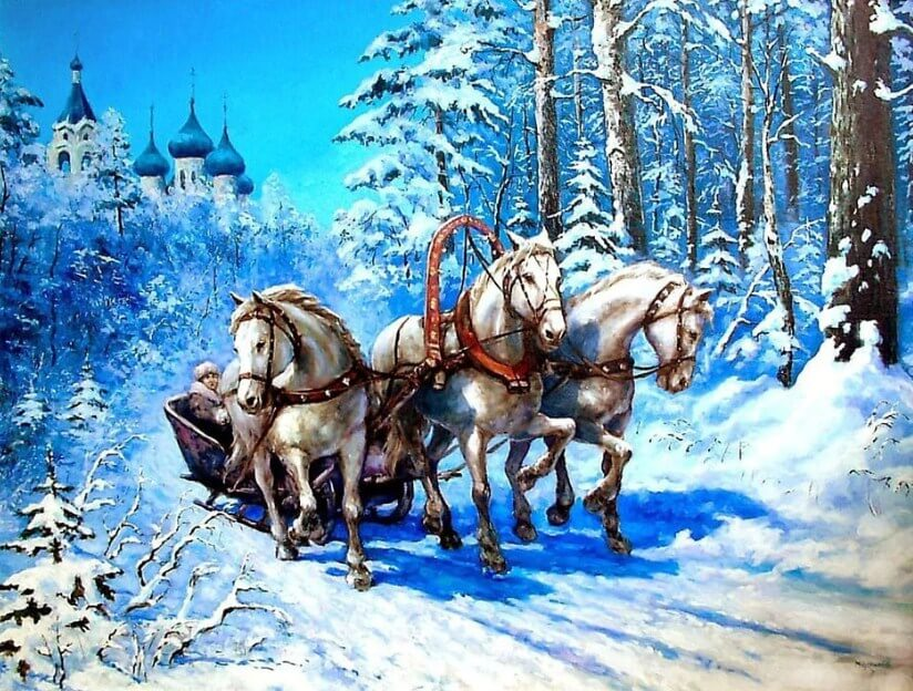 Horses Carrying a Cart in Snow